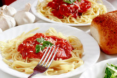 Italian spaghetti dinner stock images