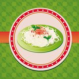 Italian spaghetti on green plate Royalty Free Stock Image