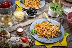 Italian spaghetti, Mediterranean cuisine. Healthy plate. sauce, lunch, meal, dinner, bolognese, restaurant, homemade,. Italian spaghetti on rustic wooden table royalty free stock photos