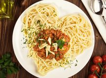 Italian Spaghetti Noodles - Heart Shape royalty free stock photo