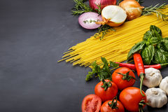 Italian spaghetti pasta ingredients Royalty Free Stock Photos