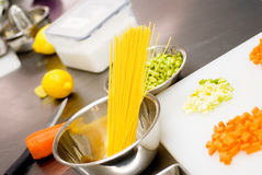 Italian spaghetti pasta on kitchen Royalty Free Stock Photography
