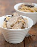 Italian spaghetti pasta and mushrooms Stock Photo
