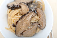 Italian spaghetti pasta and mushrooms Royalty Free Stock Photos