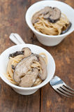 Italian spaghetti pasta and mushrooms Royalty Free Stock Images