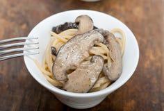 Italian spaghetti pasta and mushrooms Stock Images