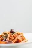 Italian spaghetti pasta with tomato based sauce Stock Images