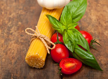 Italian spaghetti pasta tomato and basil Royalty Free Stock Photography