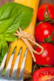 Italian spaghetti pasta tomato and basil Royalty Free Stock Images