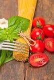 Italian spaghetti pasta tomato and basil Stock Image