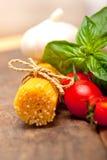 Italian spaghetti pasta tomato and basil Royalty Free Stock Image