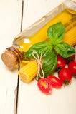 Italian spaghetti pasta tomato and basil Stock Photo