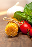 Italian spaghetti pasta tomato and basil Royalty Free Stock Photo