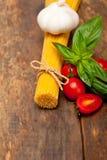 Italian spaghetti pasta tomato and basil Stock Images