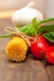 Italian spaghetti pasta tomato and basil Royalty Free Stock Photos