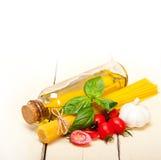Italian spaghetti pasta tomato and basil Royalty Free Stock Images