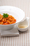 Italian spaghetti pasta with tomato and chicken Royalty Free Stock Image