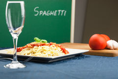 Italian spaghetti pasta with tomato sauce Stock Images