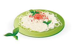 Italian Spaghetti on the plate - Vector Royalty Free Stock Photography