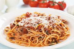 Italian spaghetti in sauce bolognese Royalty Free Stock Photography