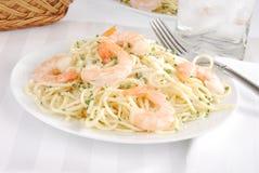 Italian spaghetti with shrimp Royalty Free Stock Image