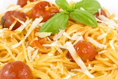 Italian spaghetti with tomato, basil and parmesan Royalty Free Stock Photo