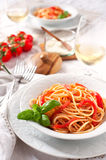 Italian spaghetti tomato sauce and basil Royalty Free Stock Photography