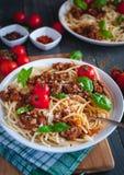 Italian spaghetti with tomato sauce, Parmesan cheese and fresh basil on top, on dark background royalty free stock photos