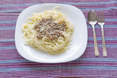 Italian spaghetti topped with bolognaise, or bolognese Stock Photography