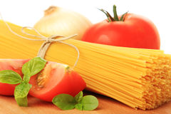 Italian spaghetti and vegetables. Isolated on white Royalty Free Stock Image