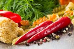 Italian spaghetti and vegetables Stock Image