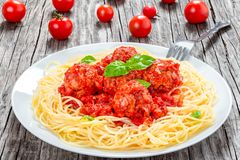 Italian spahgetti with meatballs and tomato sauce, close-up Royalty Free Stock Images