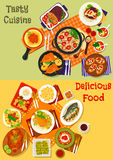 Italian, spanish and japanese cuisine dishes icon. World cuisine popular dinner dishes icon set with italian pasta and pepper bruschetta, spanish tomato soup Royalty Free Stock Photo