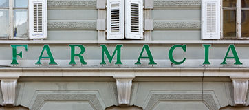 Italian and Spanish Pharmacy Sign. Over the facade of a building Royalty Free Stock Photography