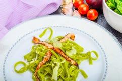 Italian spinach pasta with organic garlic Stock Image