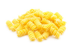 Pasta. Italian spiral pasta isolated on white background royalty free stock photos