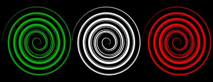 Italian spirals. Green, white and red spirals as the italian flag royalty free illustration