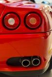 Italian sports car rear detail. Rear corner view of Ferrari sport car Stock Images