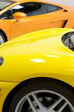 Italian sports cars in yellow and orange Royalty Free Stock Images