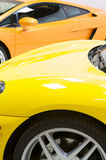 Italian sports cars in yellow and orange Royalty Free Stock Photos