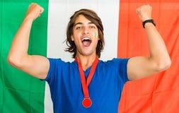 Italian Sportsfan Cheering Stock Images