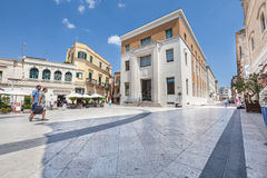 Italian square and architecture scene in Matera. Citylife Royalty Free Stock Photography
