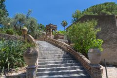 Italian Staircase in the public gardens of Taormina in Sicily stock images