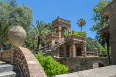 Italian Staircase in the public gardens of Taormina in Sicily royalty free stock image