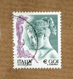 Italian stamp. With woman portrait, with postage meter from Italy Royalty Free Stock Photography