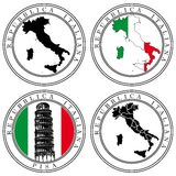 Italian Stamp. Vectorial set of postal stamp on theme of Italia, executed in Italian National color. No blends and gradients Royalty Free Stock Photography