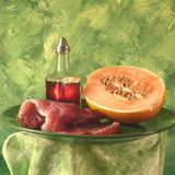 Prosciutto and cantaloupe. A plate with Italian antipasti, cantaloupe and prosciutto Royalty Free Stock Images