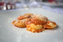 Italian starter of mozarella and tomato ravioli with parmesan sh Stock Photos