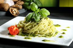 Italian stills  pasta with pesto genovese Royalty Free Stock Photo