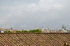 Landscape view of the Altare della Patria in Rome Italy. Italian Stone Pine and Altare della Patria seen from the distance stock images